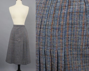vintage 70s Blue Gray Rust Woven Striped Wool Midi Skirt / 1970s Center Stage Pleated Skirt / Extra Large XL Volup