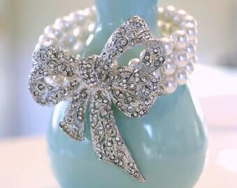The Clara Bow Bracelet - Vintage-Inspired Pearl and Rhinestone Bridal Bracelet