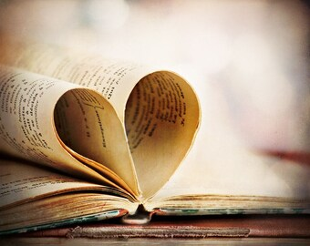 Heart My Book, love to read, worn pages, french, soft edges, Fine Art Photograph, 8x10