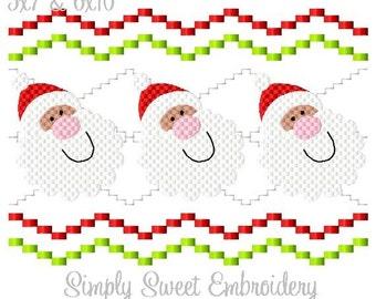 Christmas Faux Smocking Santa Machine Embroidery Design