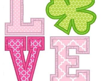 Love Shamrock Machine Embroidery Applique Design