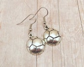 Earrings - Pewter Soccer Balls - Sports Teams - Customize with Team Colors - Soccer Mom - Futball
