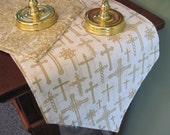 """Baby Christening Table Runner 54"""" Reversible Christian Cross For Easter or Baptism Confirmation First Communion Table Runner Religious"""