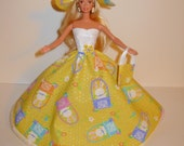 Handmade barbie clothes Beautiful Easter gown with hat and bag 4 barbie doll