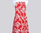 Retro Chef Apron - Cherry Red and White Damask Washable Cotton Canvas with Adjustable Neck Full Kitchen Aprons