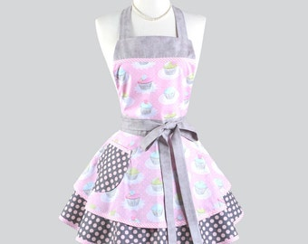 Ruffled Retro Apron - Cotton Candy Pink and Grey Polka Dot Birthday Party Cupcakes Womens Apron Ideal Personalized Birthday Gift for Her