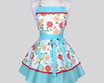 Ruffled Retro Womens Apron / Cute and Colorful Coral and Teal Spring Floral Vintage Style Kitchen Apron Ideal to Monogram or Personalize