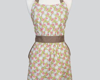 SALE Classic Womens Full Apron - Green Pink Ivory Spring Floral Mothers Day Retro Vintage Style Cute Kitchen Apron with Pockets and Fitted B