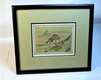 Vintage Japanese Hand Painted Framed Watercolor Landscape on Silk from Eda Varricchio Gallery