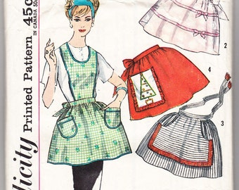 Vintage 1962 Simplicity 4213 Sewing Pattern Misses' and Junior's Checked Gingham Smocked Aprons Size 9-16