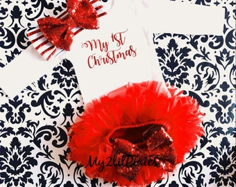 Christmas baby outfit, My First Christmas long sleeve onesie, Red Tutu bloomer,  red sparkle baby headband , Christmas set
