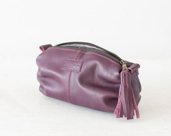 Plum purple leather makeup bag, cosmetic case accessory bag toiletry utility zipper pouch - Ariadne makeup bag