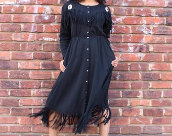Vintage Black Fringe Western Dress with Concho Detailing