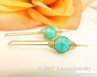 Amazonite Earrings ~ Herringbone Earrings ~ Gold Earrings ~ AdoniaJewelry