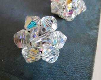 Vintage AB Glass Cluster Bead Clip Back Earrings