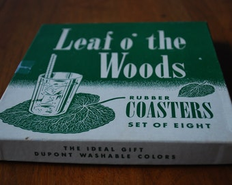 Vintage Coasters - Set of Eight Leaf O the Woods Green Rubber Coasters - MidCentury - Woodland - Barware