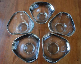 Vintage Silver Ombre Bowls -  set of five - 1960's - Mid Century - Dorothy Thorpe Style