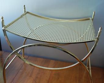 MidCentury Goldtone Vanity Bench/ Stool -  Harlequin Seat - Finial Ends - Hollywood Regency - Glam