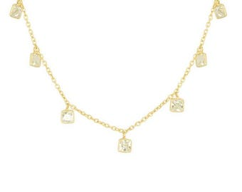 Square Droplets Necklace | Dainty Gold Necklace | Gold and CZ Necklace