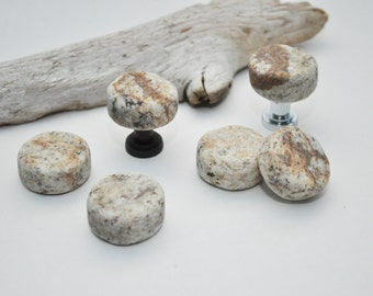 Choose Your Hardware - Upcycled Granite Countertop Core Cabinet Knobs - Set of 6