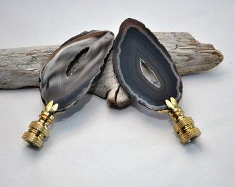 Lamp Finial - Brown Druzy Brazilian Agate