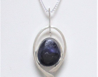 Sea Glass Jewelry - Sterling Rare Purple Victorian English Sea Glass Necklace