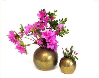 ON SALE Brass Orb Vase, Vintage Round Hammered Metallic, Boho Chic