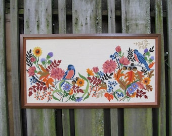 Vintage Needlepoint Blue Birds and Colorful Flowers and Foliage, Extra Large, Framed and Completed