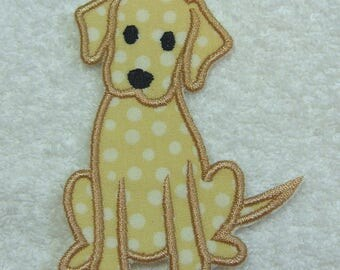 Golden/Yellow Lab Dog Fabric Embroidered Iron On Applique Patch Ready to Ship
