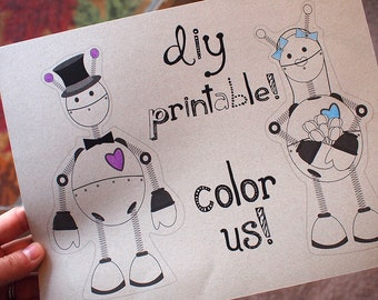 Robot Wedding Cake Topper PRINTABLE DIY COLOR Digital Download