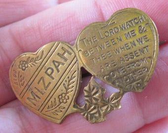 Antique English WWI MIZPAH Sweetheart Double Heart Brooch Pin