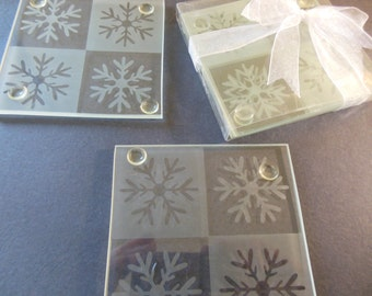 4 Etched Glass Coasters with Snowflake Design, 3.5 X 3.5 Inches