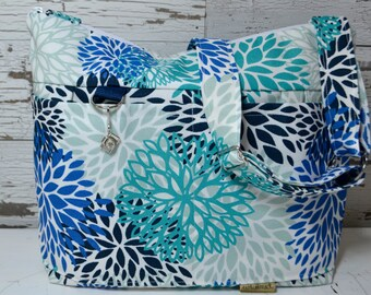 Camera bag in Navy, turquoise, and royal blue  floral - DSLR pleated messenger purse & Strap  by Darby Mack