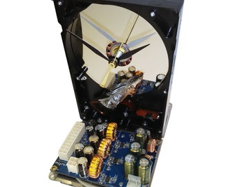 Cool and Unique Hard Drive now a Clock with Rare, 1990s Circuit Board Accenting the Base.