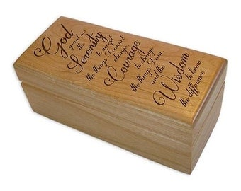 Serenity Prayer God Box, Laser Engraved Trinket Boxes, Recovery Gifts and more from WoodenUrecover (WURGB_SPLB)