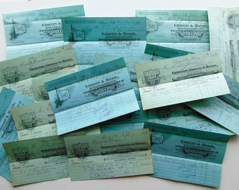 SALE - ONE Antique Blue Receipt