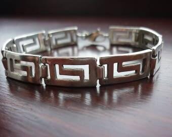 Vintage Greek Key Sterling Silver Bracelet