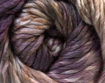 100 Gram Bozcaada Island Donna #27192 Ice Wool Yarn Grape Mauve Taupe Cream Heavy Worsted Purple and Brown Tones with Off-White 191 Yards