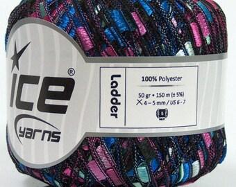 Miami Beach Ladder Yarn #48665 Ice Blue Mint Pink Black Trellis Ribbon Yarn - 50 gram - 164 yards