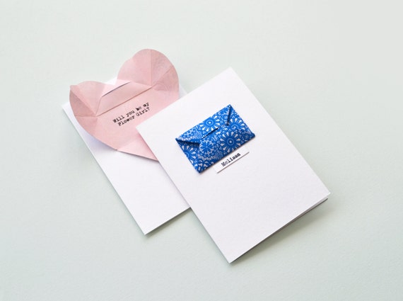 Personalised flower girl card with secret message origami heart