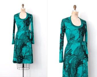vintage 1970s dress / abstract print 70s dress / Maurice