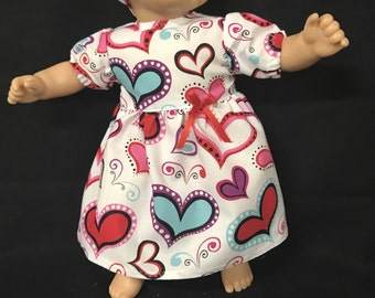Doll Clothes for 15 Inch Dolls, Handmade to fit like American girl bitty baby, Be My Valentine Dress Valentine Hearts Dress