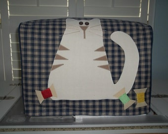 Navy and Tan Plaid Cat Sewing Machine Cover