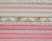 12 fat quarter bundle GUERNSEY in Bloom and Linen .. Brenda Riddle Designs .. Moda fabric ..  Linen and Pink colorway