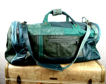 Vintage 80s Green Mexico Patchwork Leather Duffel Bag Luggage