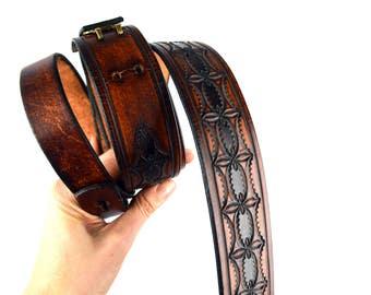 Vintage Tooled Leather Floral Strap