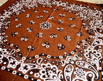 Vintage Brown Cotton Bandana - #S11