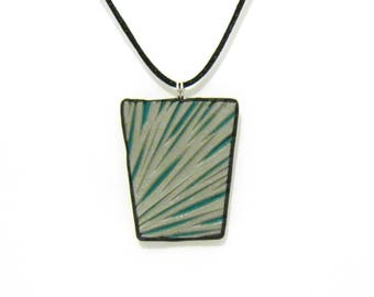 Abstract Carved Pendant - Green and Silver - Geometric Modern Shape - Black Satin Cord Necklace - Polymer Clay - One of a Kind