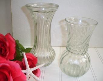 Vintage Glass Vases Wedding Shabby Cottage Set of 2 Mid Century