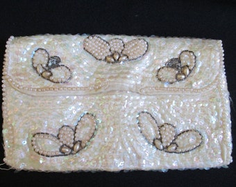 Vintage La Regale Beaded Clutch, Ladies Evening Bag, Sequins and Pearls